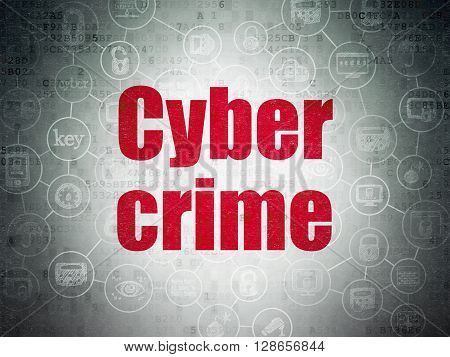 Safety concept: Painted red text Cyber Crime on Digital Data Paper background with  Scheme Of Hand Drawn Security Icons