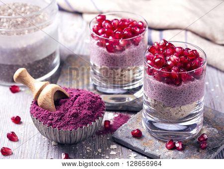 Chia seeds acai pudding with pomegranate