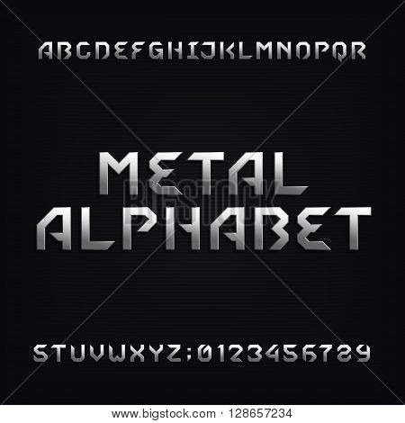 Metal alphabet font. Chrome effect letters and numbers on a dark background. Vector typeface for your design.