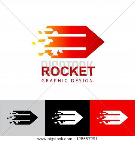 Business Icon - Vector logo concept Pencil rocket . Abstract emblem for design website interface , web page coding and programming,  branding and data visualization, mobile apps development