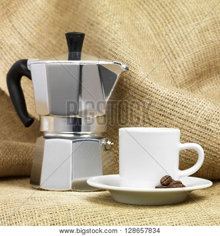 Italian Coffee Machine with a coffee cup