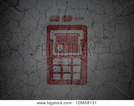 Banking concept: Red ATM Machine on grunge textured concrete wall background