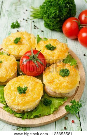 Chicken medallion with pineapple and cheese. Delicious and juicy dish