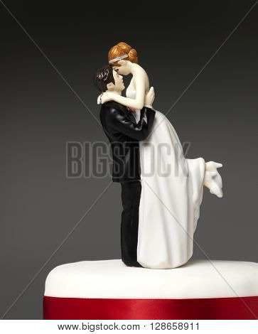 Bride and Groom topper on a wedding cake