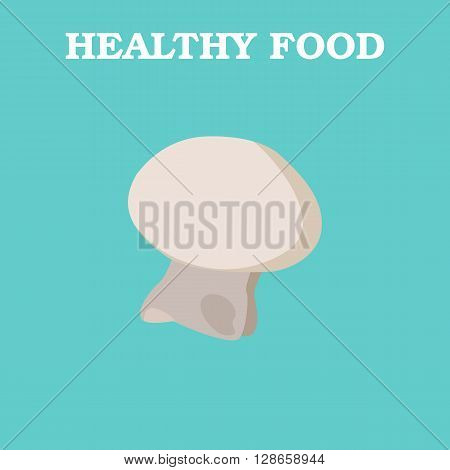 Mushroom icon. Flat style vector illustration. Vegetarian food. Healthy lifestyle. Raw food diet