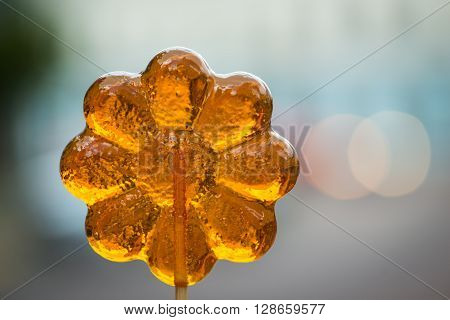 Flower Shaped Lollypop With Background Lights