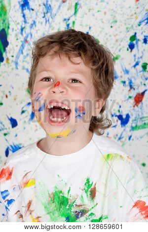 Stained paint with his mouth open child without teeth