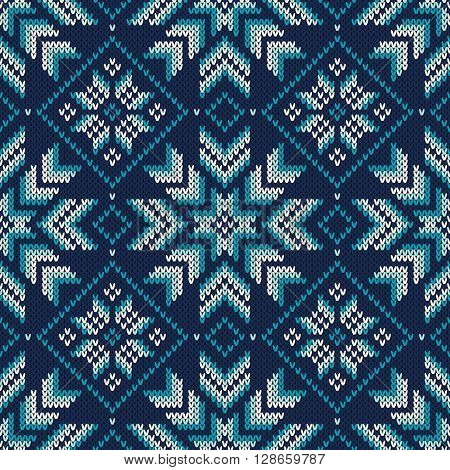 Seamless Knitted Pattern. Fair Isle Style Knitting Sweater Design. Vector Knitted Texture