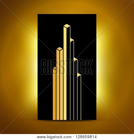 Abstract vector cube sign symbol emblem logo. Absratc geometric design element. Linear building icon downtown symbol architecture graphic. Gold bright shine abstract design. Vector illustration.