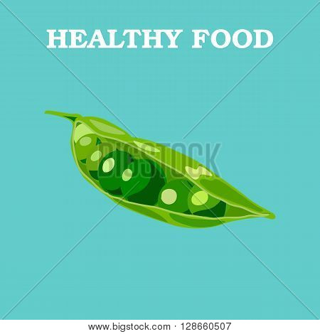 Peas icon. Flat style vector illustration. Vegetarian food. Healthy lifestyle. Raw food diet