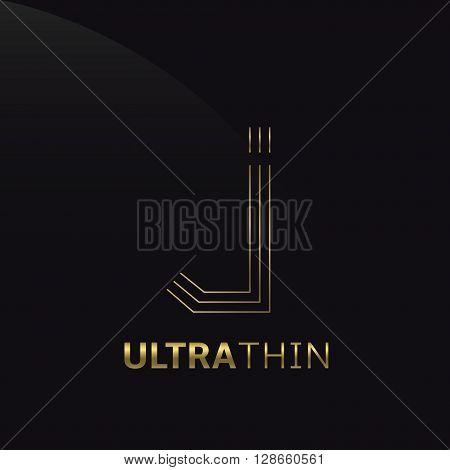 Ultrathin J Letter logo template. Golden J letter symbol