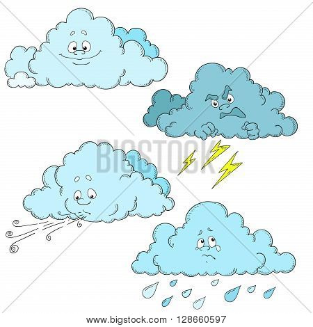 Clouds cartoon characters. Set of clouds. Weather Vector