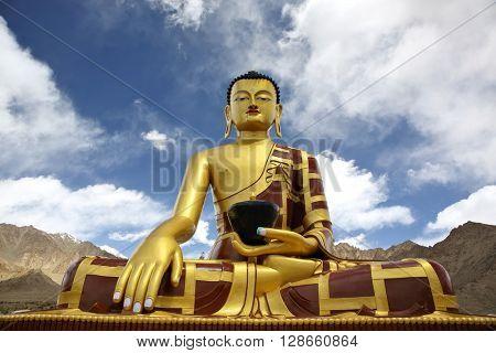 Shakyamuni Buddha (Gautama) statue near Tingmosgang Buddhist Monastery, Ladakh, Jammu & Kashmir, India