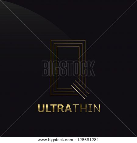 Ultrathin Q Letter logo template. Golden Q letter symbol