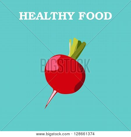 Radish icon. Flat style vector illustration. Vegetarian food. Healthy lifestyle. Raw food diet