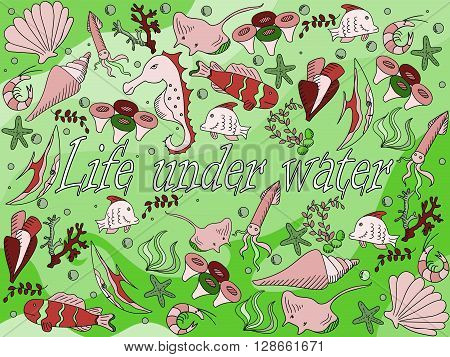 Life under water line art design vector illustration. Sea bottom separate objects. Hand drawn doodle design elements.