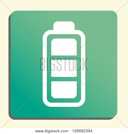 Battery Icon In Vector Format. Premium Quality Battery Symbol. Web Graphic Battery Sign On Green Lig