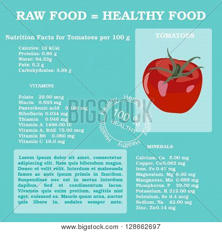 Nutrition facts for tomato in flat style