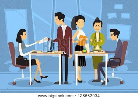Asian Business People Meeting Discussing Office Desk Businesspeople Working Flat Vector Illustration