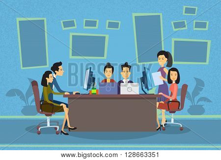 Asian Business People Working Computer Meeting Discussing Office Desk Businesspeople Flat Vector Illustration
