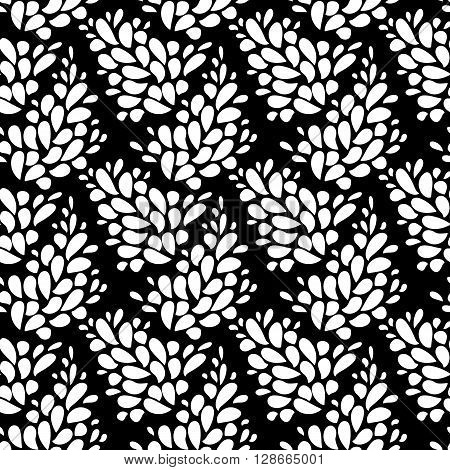 Seamless texture with leaves. Seamless floral pattern. Seamless flourishes pattern. Flourish simple print. Vector repeating texture. Seamless flower pattern. Black and white background texture