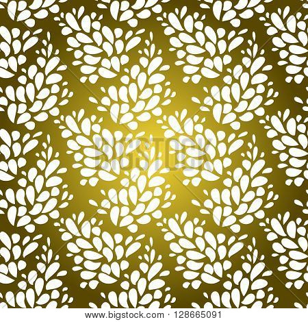 White floral design background. Spring vector design concept. Gold and white seamless flourish pattern. Design for premium product packaging premium service identity corporate design. Abstract floral