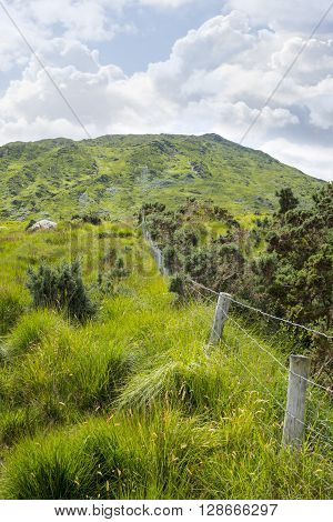 view from a beautiful hiking route the kerry way in ireland of fence leading to rocky mountains