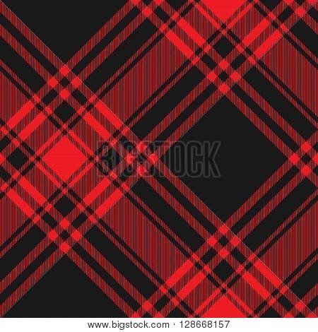 Menzies tartan black red kilt diagonal fabric texture seamless pattern.Vector illustration. EPS 10. No transparency. No gradients.