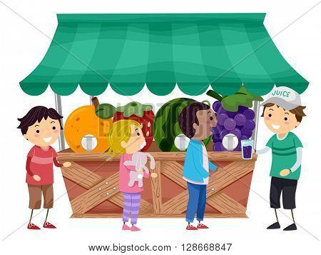 Stickman Illustration of Kids Getting Fruit Juice