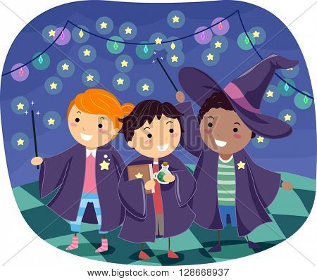 Stickman Illustration of Boys Wearing Wizard Costumes