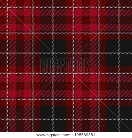 Pride of wales fabric texture red tartan seamless pattern. Vector illustration. EPS 10. No transparency. No gradients.