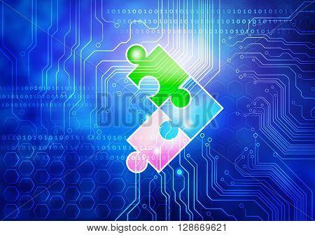 Circuit blue background