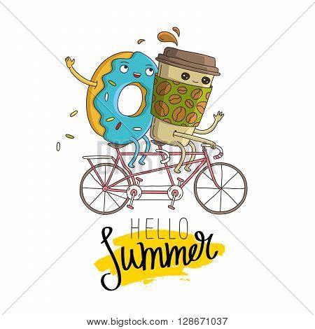 Sweet donut and cup of coffee riding on a tandem bike. The inscription hello summer on a smear of yellow ink. Vector illustration on white background. Excellent print on a T-shirt. Fashionable calligraphy.