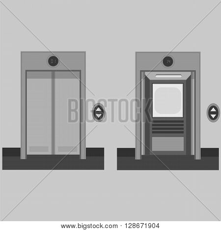 Metal Office Building Elevator on Grey Background. Closed and Open Doors.