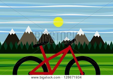 Mountain panorama for eco bike tourism and ecological and sport travel