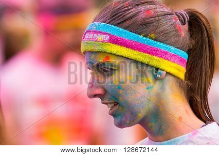 PRAGUE, CZECH REPUBLIC - MAY 30: Portrait of unidentified woman at The Color Run on May 30, 2015 in Prague, Czech rep. The Color Run is a worldwide hosted fun race with about 12000 competitors in