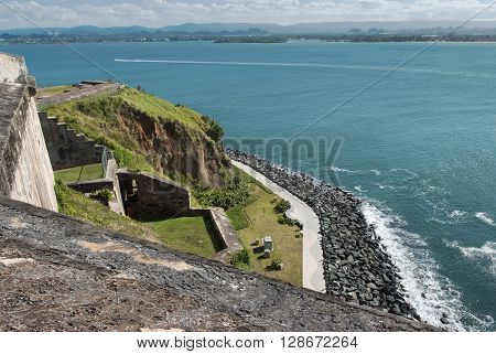 Panoramic view of the coastline from El Morro Fortress, San Juan, Puerto Rico