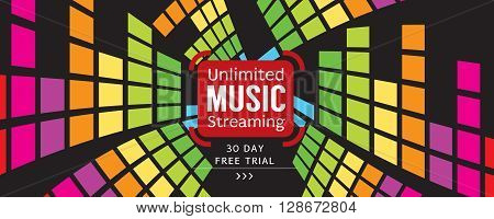 Music Free Trial 1500x600 Pixel Banner Vector Illustration. EPS 10