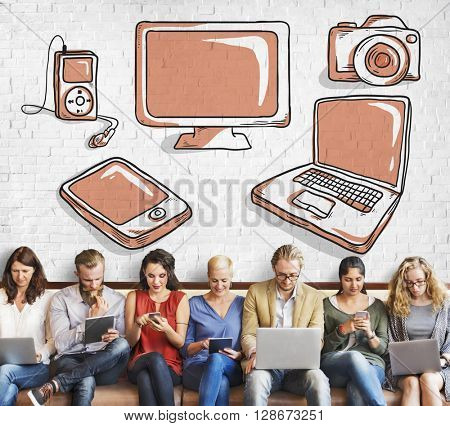 Digital Electronic Network Media Technology Concept