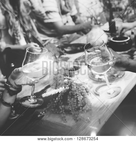 Celebrate Enjoyment Friends Together Unity Social Concept, blurred