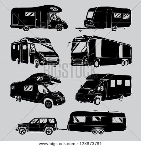 cars Recreational Vehicles Camper Vans Caravans Icons. Vector illustration. Motor home on grey background.