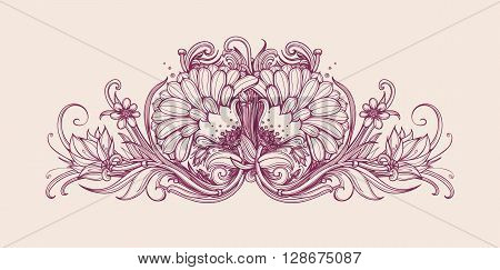 Vector vintage flowers. Vintage flower pattern print design. Vector flower background. Hand drawn flower bouquet. Floral frame design. Vintage flowers. Vector art illustration. Horizontal frame border