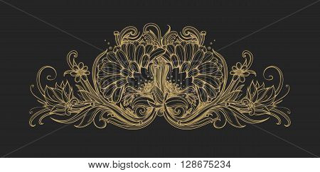Floral classic frame border. Decorative floral ornament. Gold foil flowers isolated on black Flower premium pattern background design element for VIP premium service premium product. Vintage vector