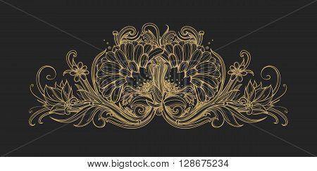Floral classic frame border. Decorative floral ornament. Gold foil flowers isolated on black Flower premium pattern background design element for VIP premium service premium product. Vintage vector