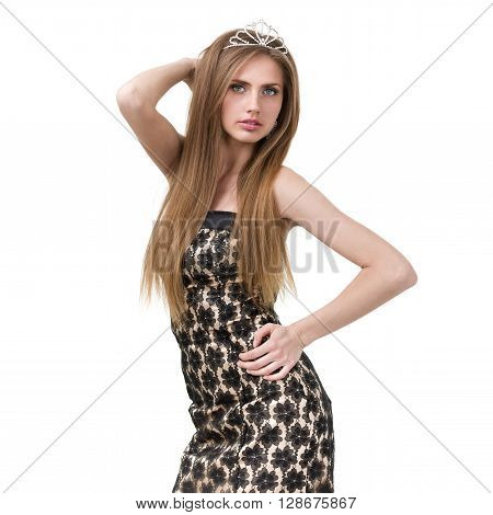 waist-up portrait of beautiful girl with diadem, isolated on white background