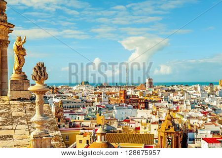 an aerial view of the roofs of Cadiz, Spain, from the belfry of its Cathedral