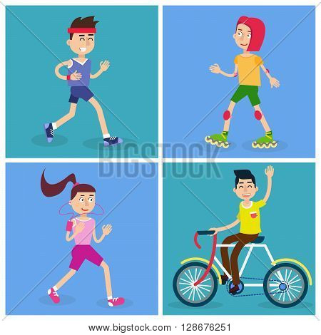 Active People Man and Woman Runners and Girl on Roller Skates. Man on Bicycle Vector illustration