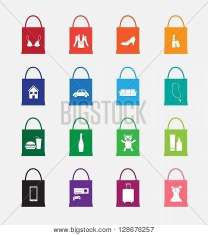 shopping bag icon on gray background set