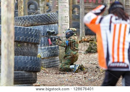 Saint-Petersburg, Russia - April 24, 2016: Paintball tournament in Snaker club between student teams from five universities. Game process.