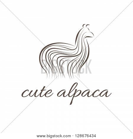 Abstract illustration icon of alpaca. vector illustration